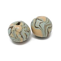 Polymer Clay Round Bead - Peach/Teal
